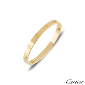Cartier Yellow Gold Plain Love Bracelet Size 16 B6035516